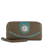 BROWN WESTERN STUDDED RHINESTONE FLOWER LOOK ZIPPER WALLET CB3-1207BRN