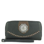 BLACK WESTERN STUDDED RHINESTONE FLOWER LOOK ZIPPER WALLET CB3-1207BLK