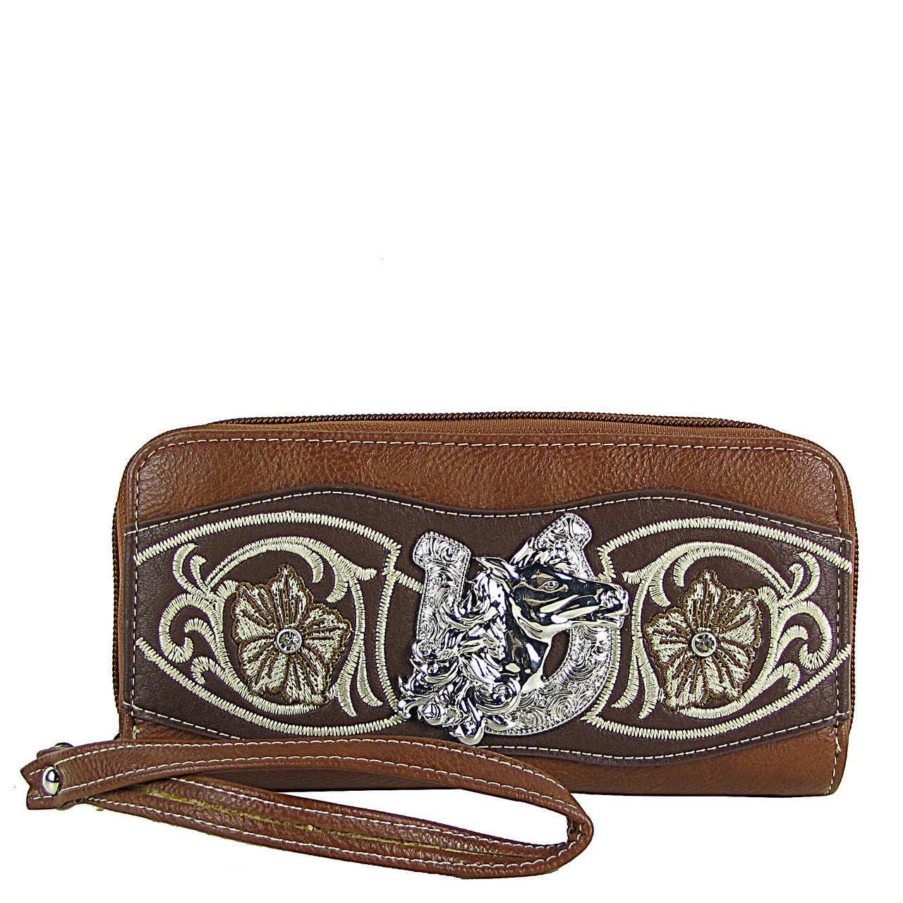 BROWN HORSESHOE WITH FLOWER LOOK ***(DOUBLE ZIPPER)*** WALLET CB3-1205BRN