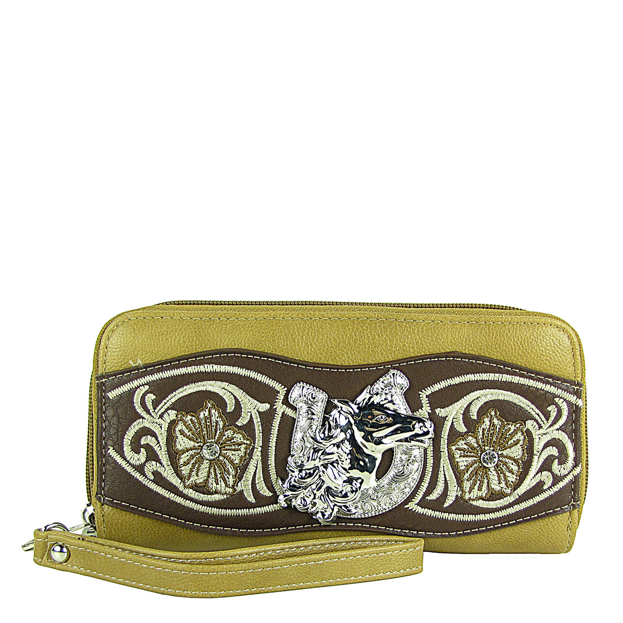 TAN HORSESHOE WITH FLOWER LOOK ***(DOUBLE ZIPPER)*** WALLET CB3-1205TAN
