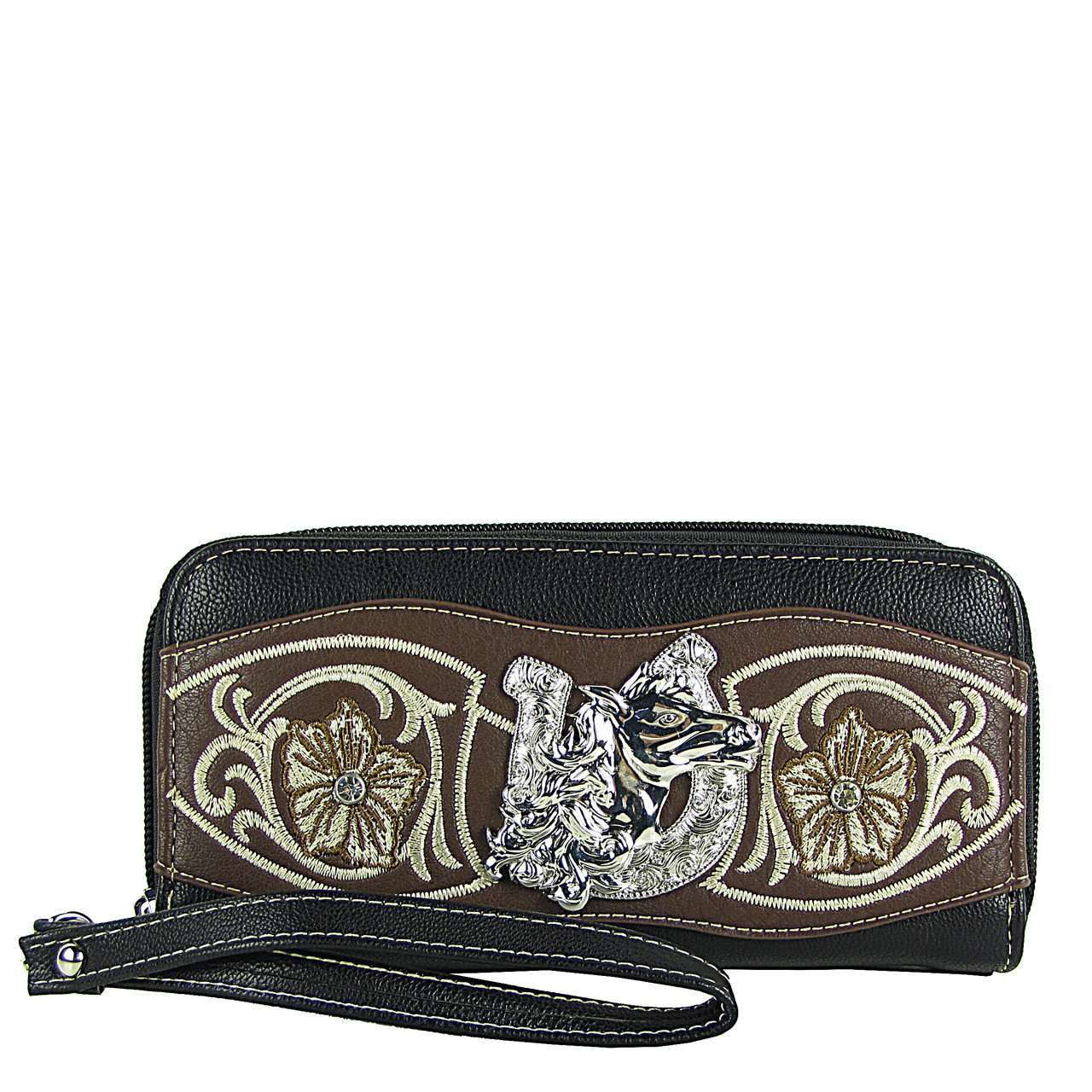 BLACK HORSESHOE WITH FLOWER LOOK ***(DOUBLE ZIPPER)*** WALLET CB3-1205BLK