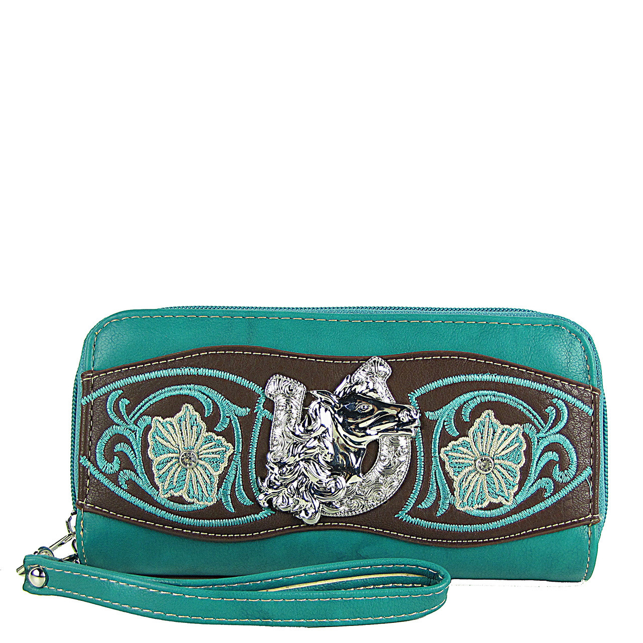 TURQUOISE HORSESHOE WITH FLOWER LOOK ***(DOUBLE ZIPPER)*** WALLET CB3-1205TRQ