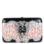 CORAL LEOPARD BUCKLE DESIGN FLAT THICK WALLET FW2-12119CRL