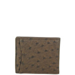BROWN OSTRICH MENS BIFOLD CARD HOLDER MW5-0400BRN