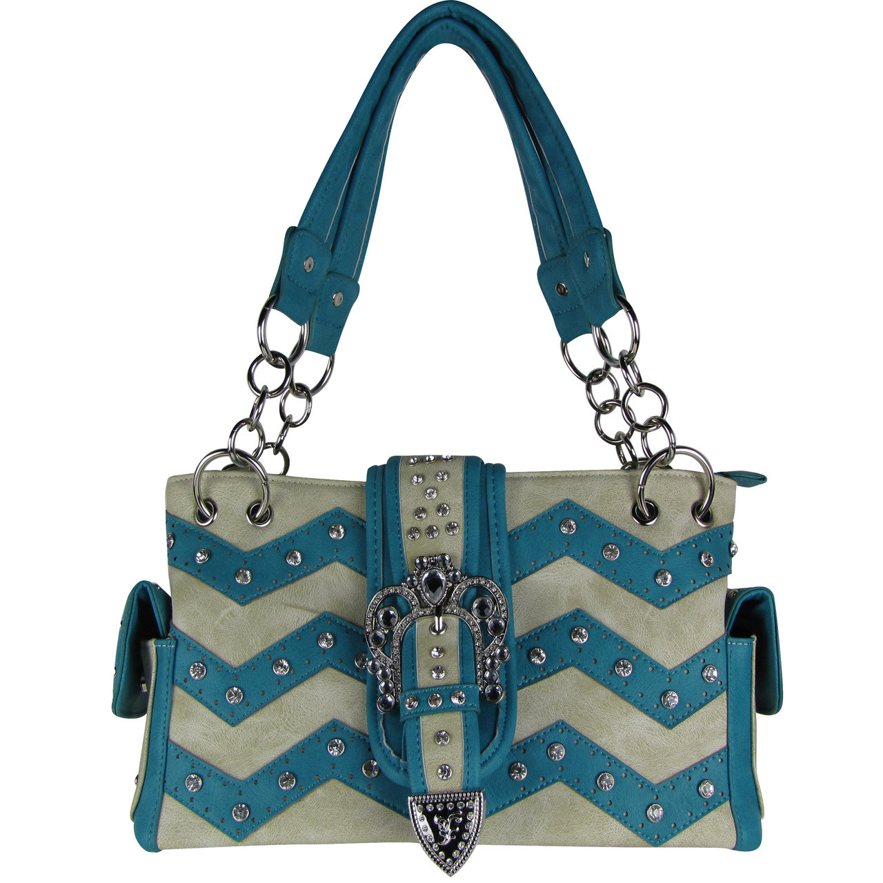 TURQUOISE RHINESTONE BUCKLE LOOK SHOULDER HANDBAG HB1-939WVTRQ