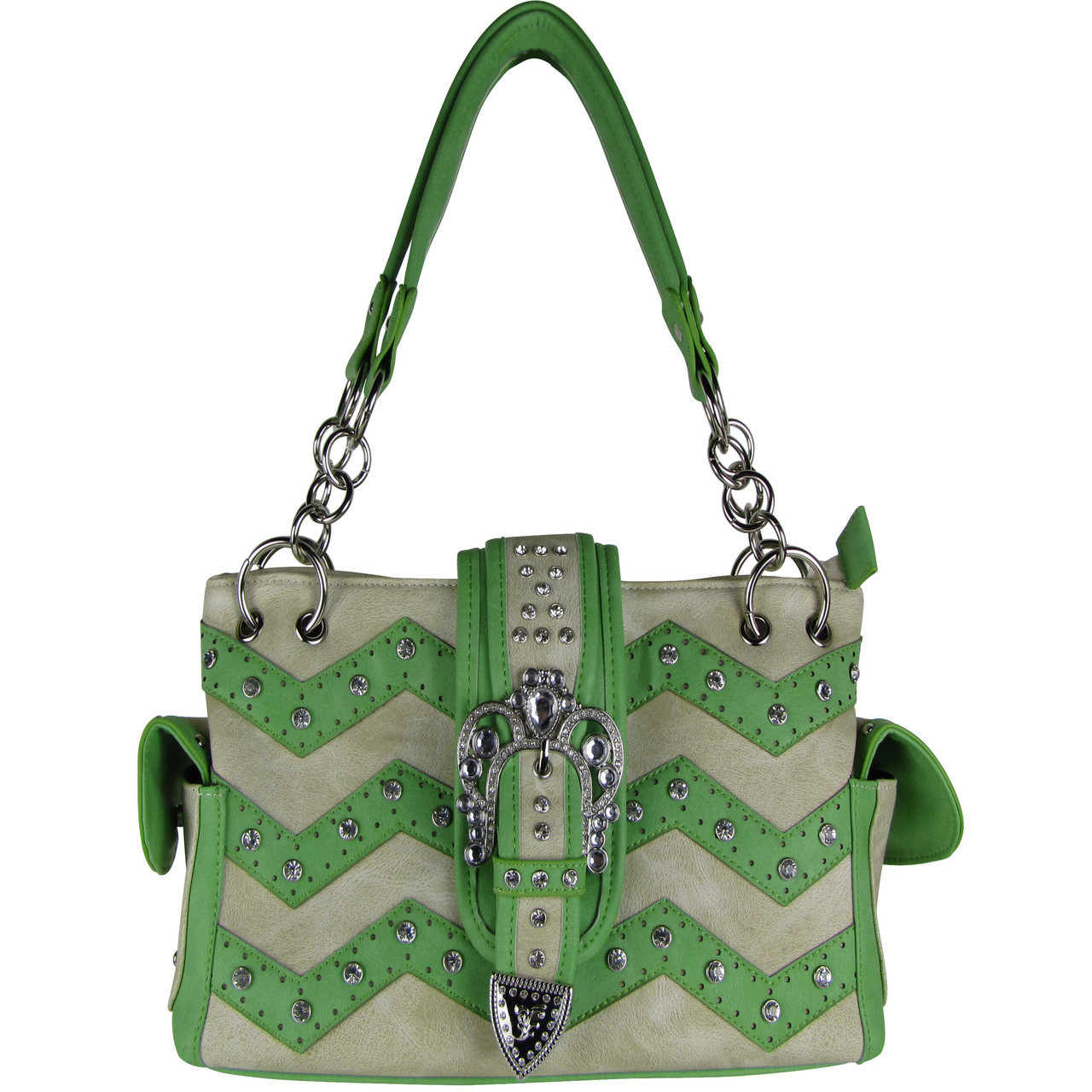 GREEN RHINESTONE BUCKLE LOOK SHOULDER HANDBAG HB1-939WVGRN