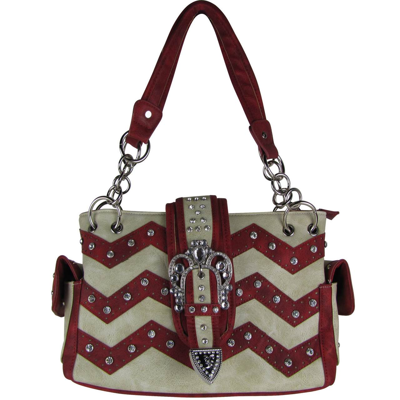 RED RHINESTONE BUCKLE LOOK SHOULDER HANDBAG HB1-939WVRED