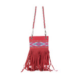HOT PINK TRIBAL RUFFLE  MINI MESSENGER BAG MB2-1220HPK
