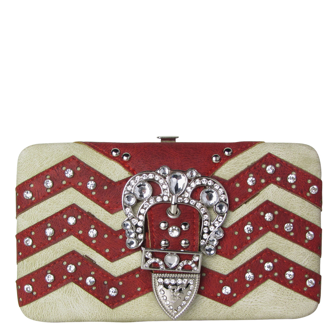 RED CHEVRON RHINESTONE BUCKLE LOOK FLAT THICK WALLET FW2-12113RED