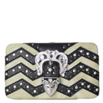BLACK CHEVRON RHINESTONE BUCKLE LOOK FLAT THICK WALLET FW2-12113BLK