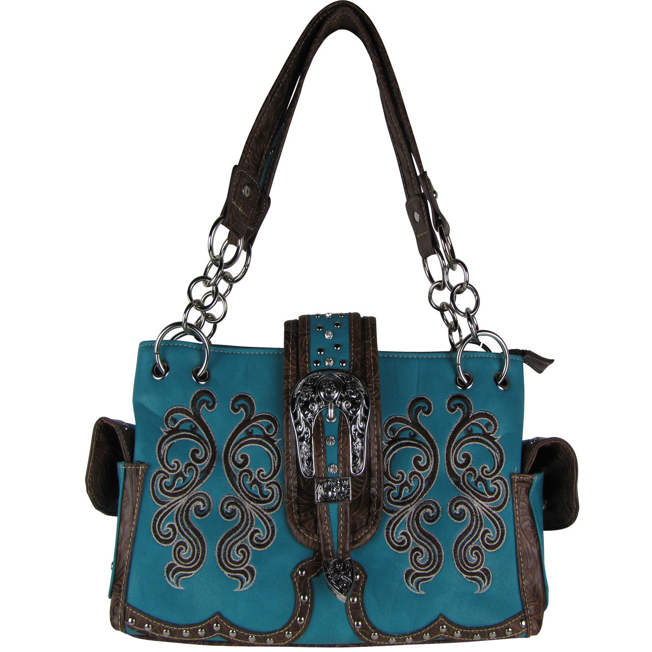 TURQUOISE WESTERN BUCKLE LOOK SHOULDER HANDBAG HB1-39W62TRQ