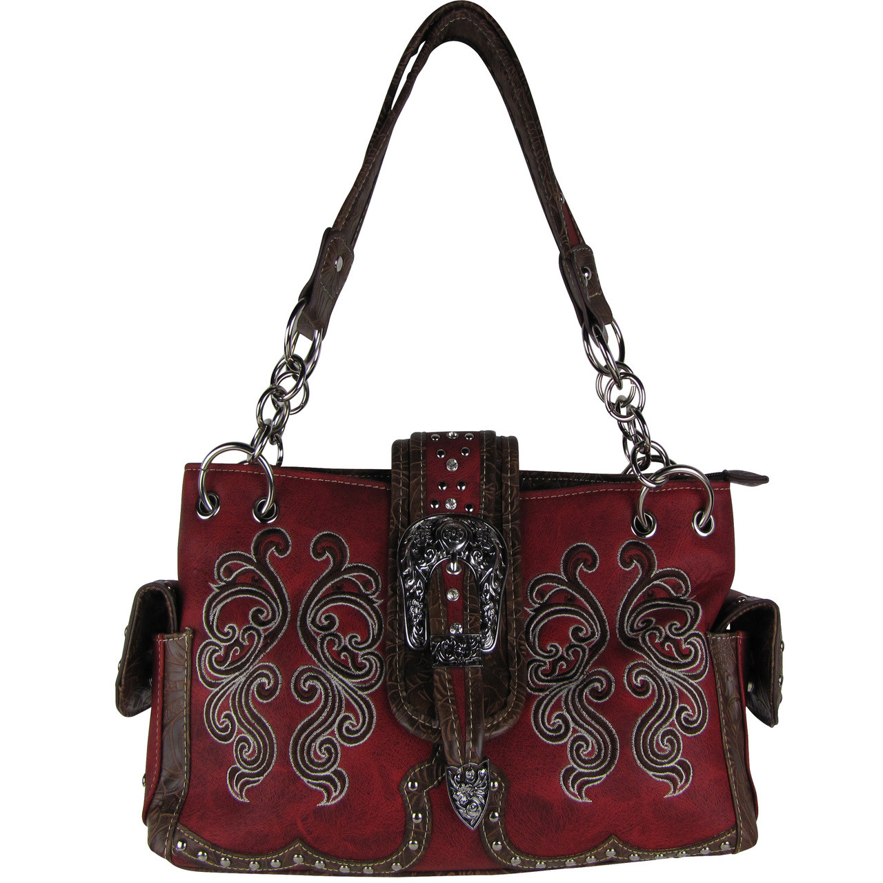 RED WESTERN BUCKLE LOOK SHOULDER HANDBAG HB1-39W62RED