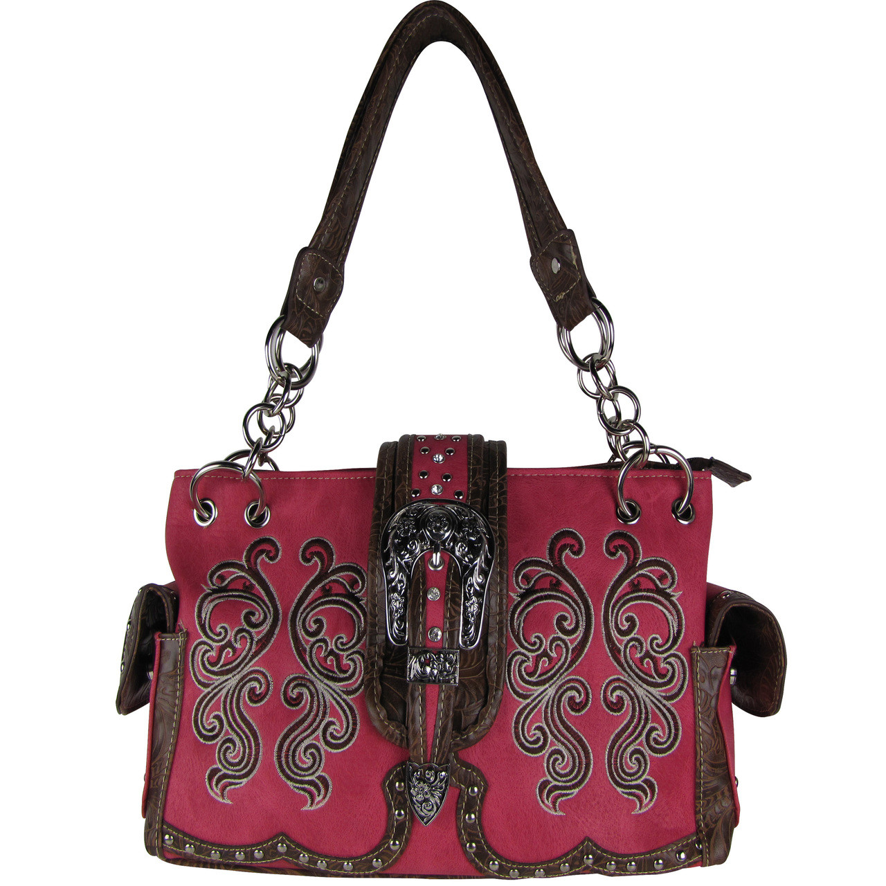 HOT PINK WESTERN BUCKLE LOOK SHOULDER HANDBAG HB1-39W62HPK
