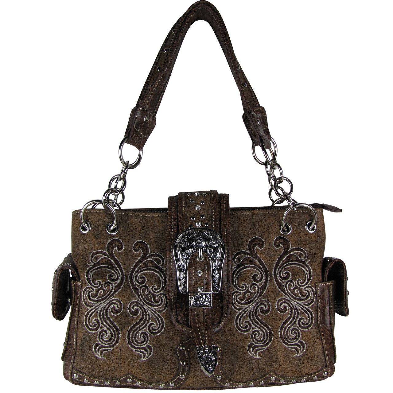 BROWN WESTERN BUCKLE LOOK SHOULDER HANDBAG HB1-39W62BRN