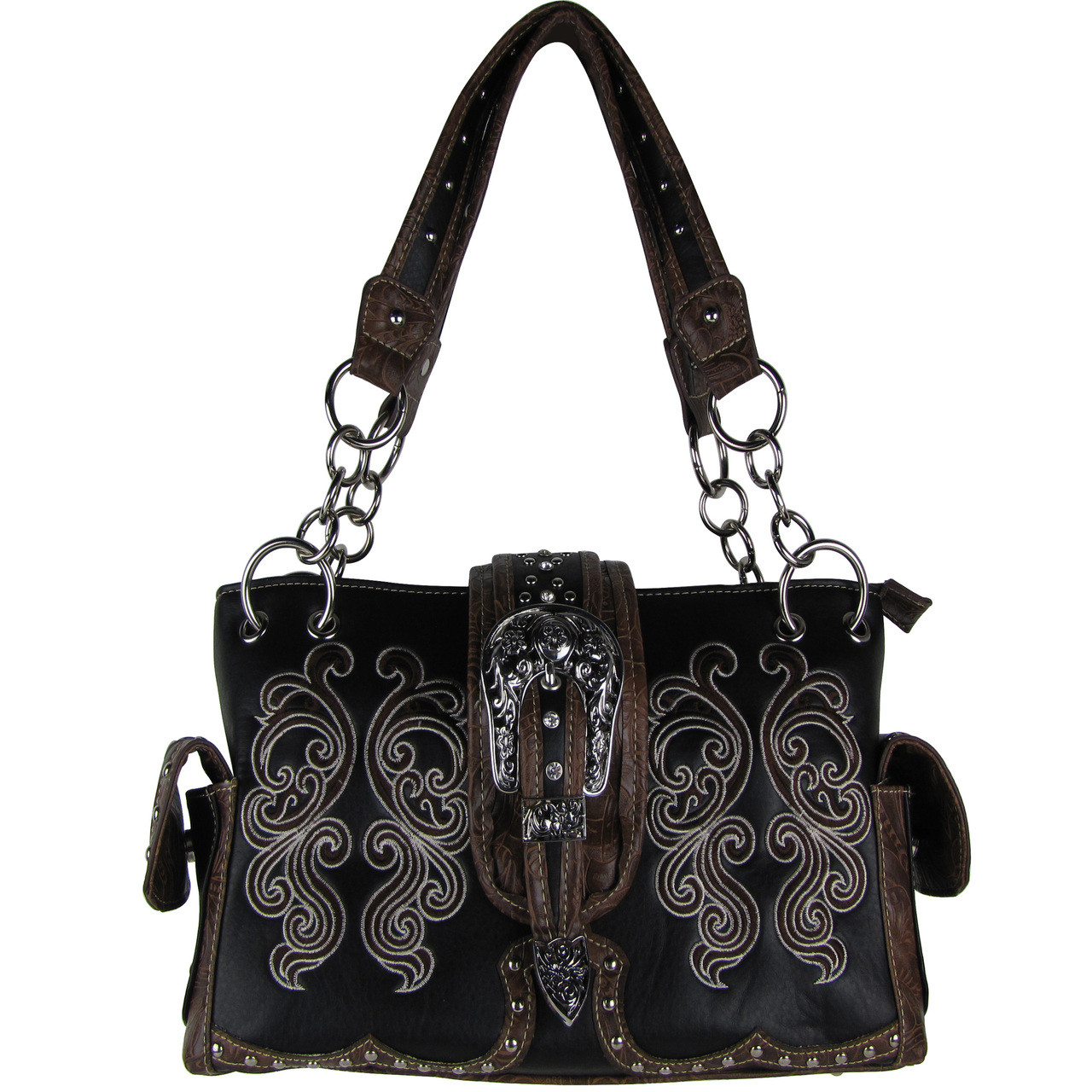 BLACK WESTERN BUCKLE LOOK SHOULDER HANDBAG HB1-39W62BLK