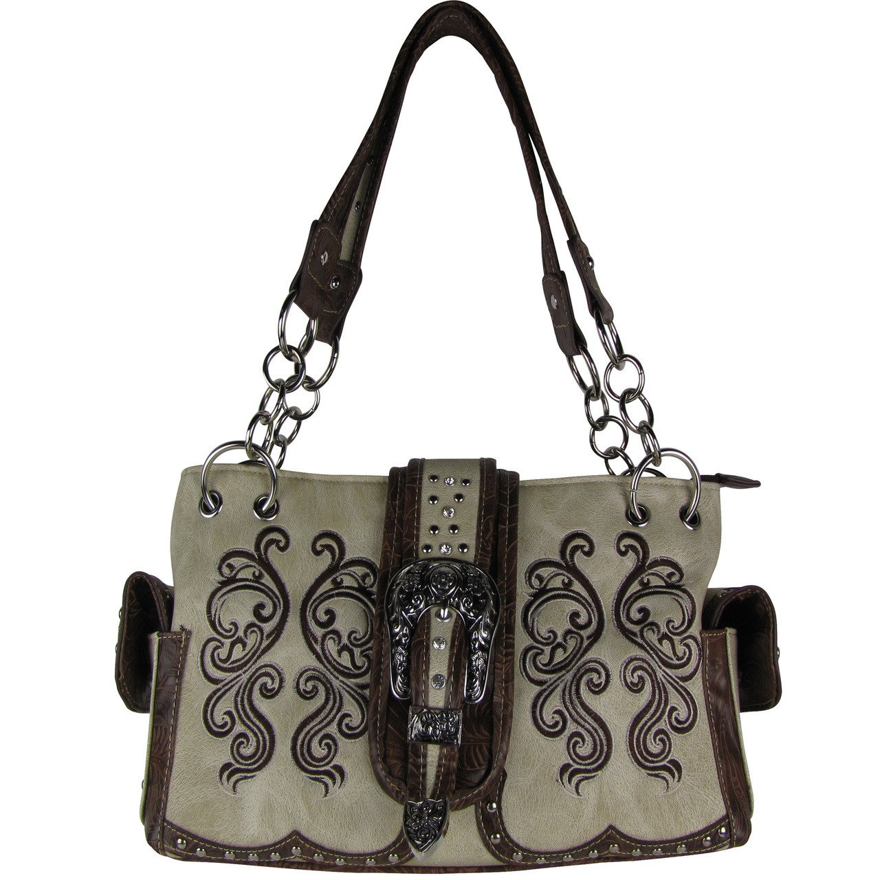 BEIGE WESTERN BUCKLE LOOK SHOULDER HANDBAG HB1-39W62BEI