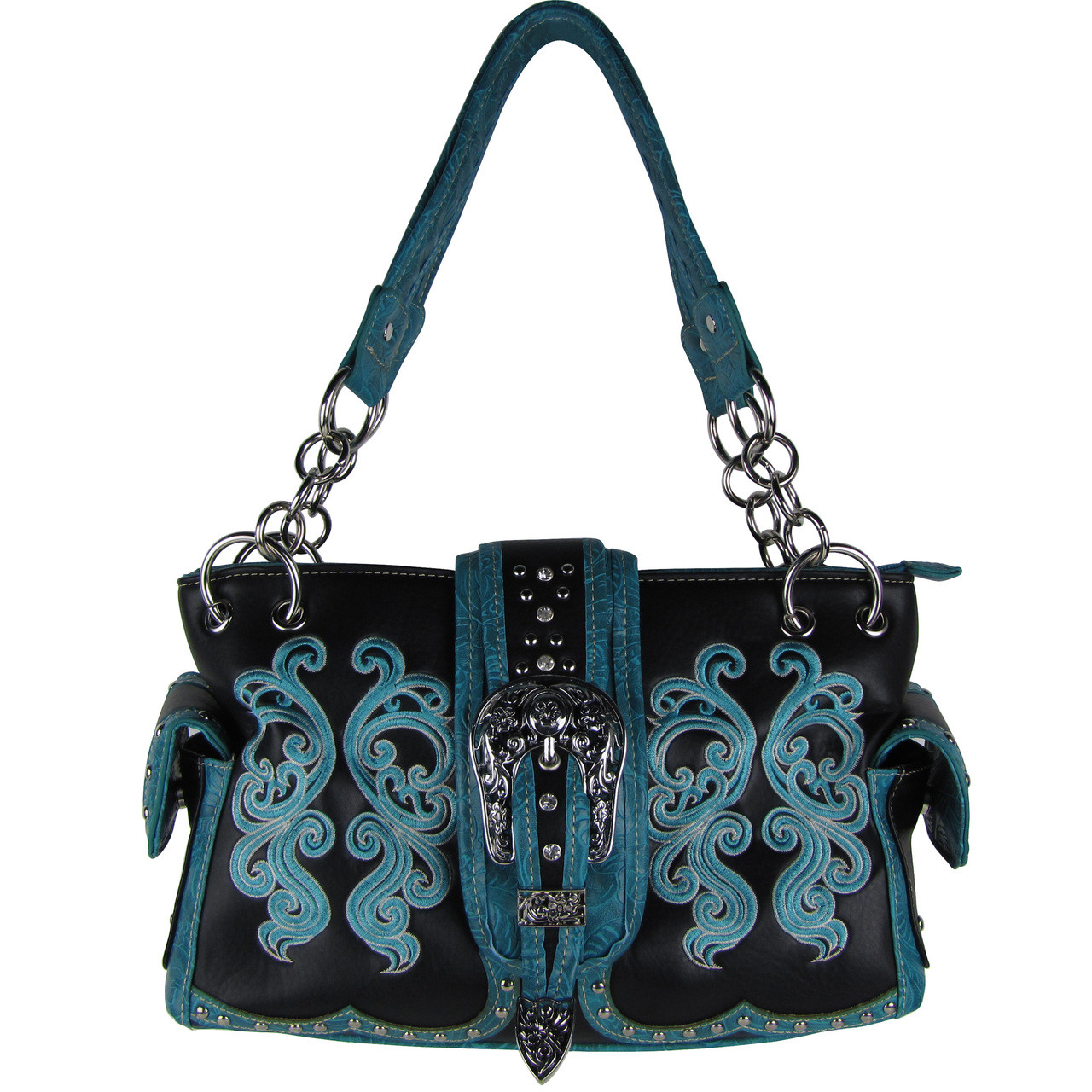 BLACK WESTERN BUCKLE LOOK SHOULDER HANDBAG HB1-39W62-1BLK