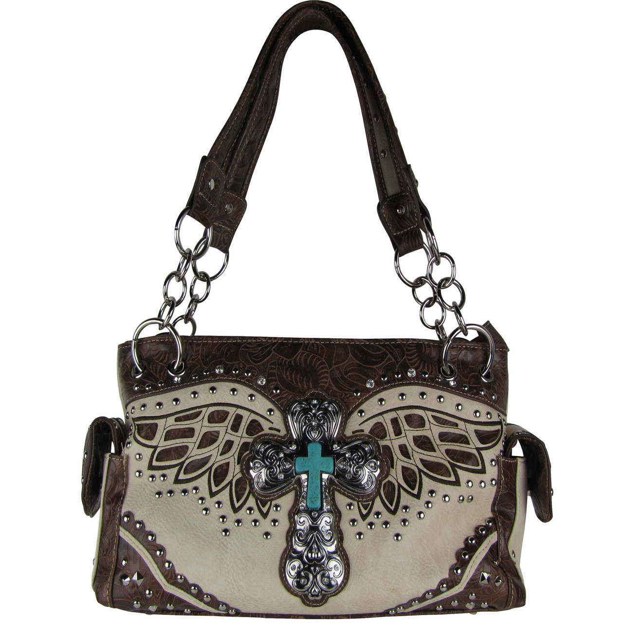 BEIGE WESTERN CROSS WITH WINGS LOOK SHOULDER HANDBAG HB1-52LCRBEI