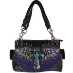 PURPLE WESTERN CROSS WITH WINGS LOOK SHOULDER HANDBAG HB1-52LCRPPL