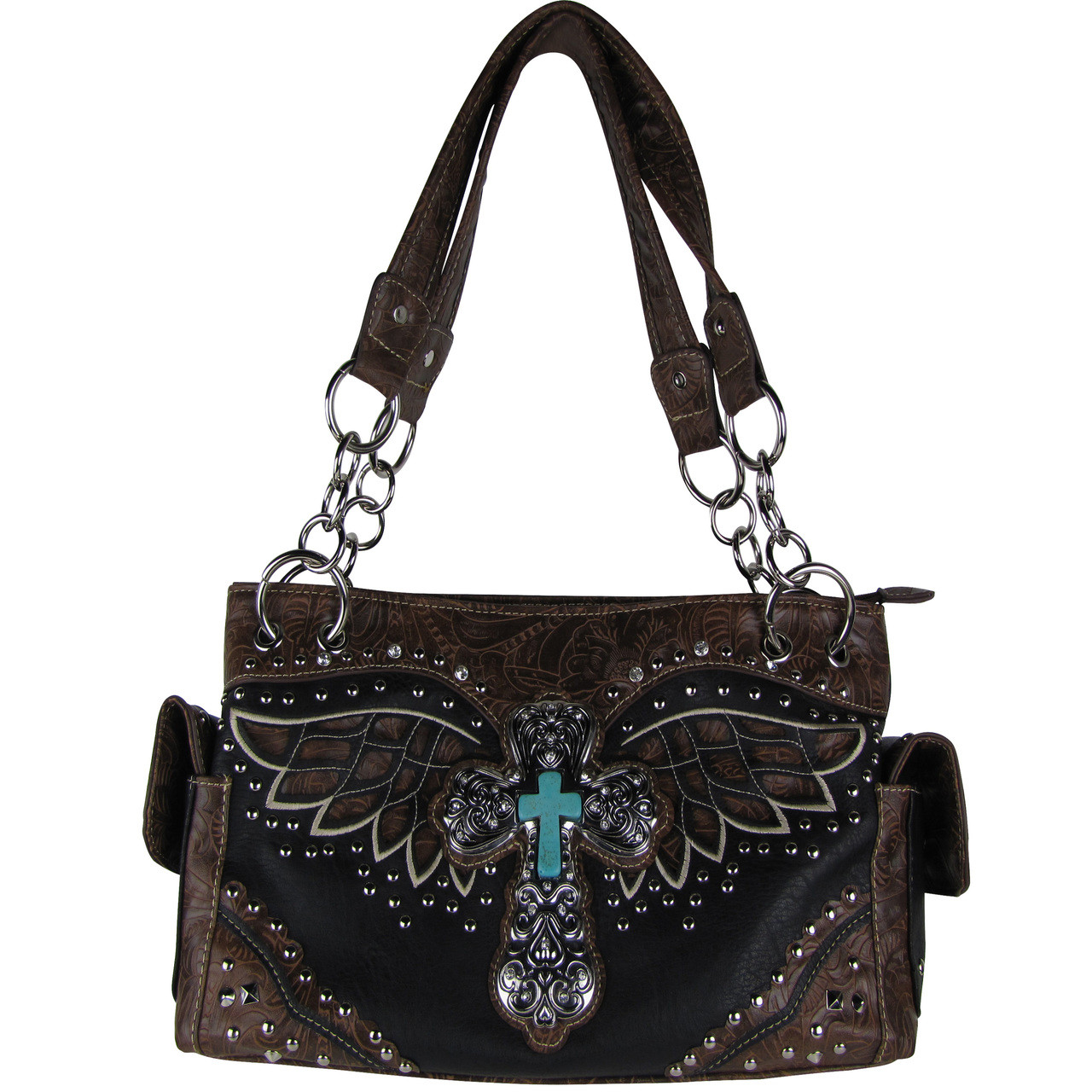 BLACK WESTERN CROSS WITH WINGS LOOK SHOULDER HANDBAG HB1-52LCRBLK