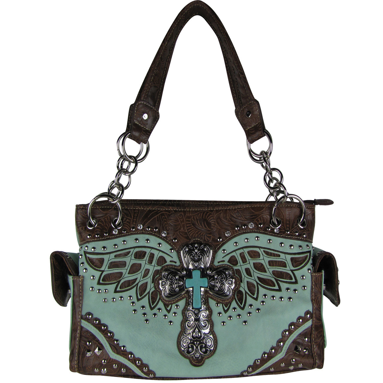 TURQUOISE WESTERN CROSS WITH WINGS LOOK SHOULDER HANDBAG HB1-52LCRTRQ