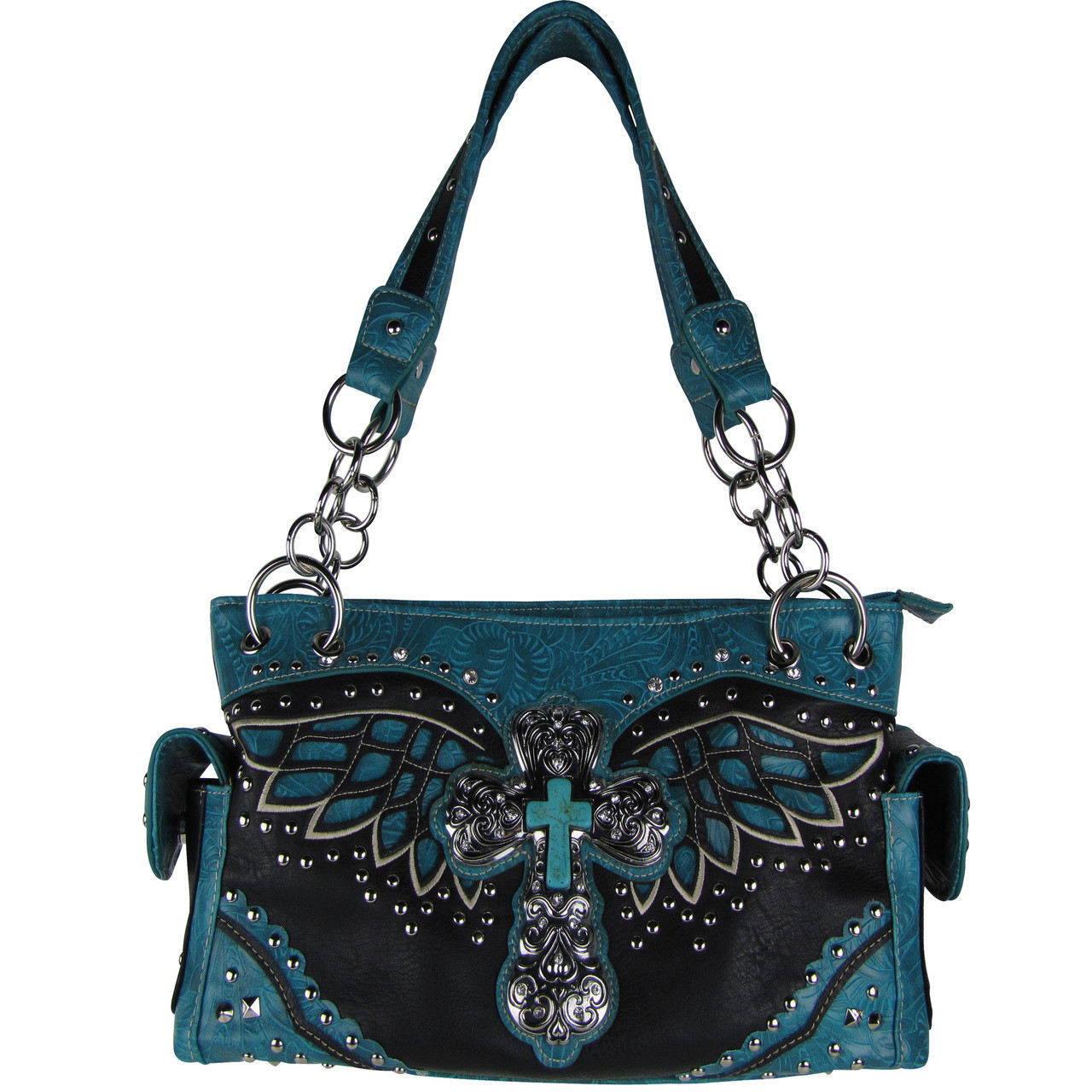 TURQUOISE WESTERN CROSS WITH WINGS LOOK SHOULDER HANDBAG HB1-52LCR-1TRQ