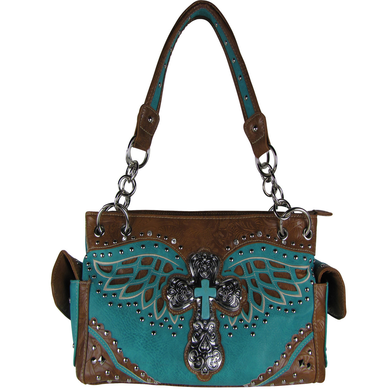 TURQUOISE WESTERN CROSS WITH WINGS LOOK SHOULDER HANDBAG HB1-52LCR-2TRQ