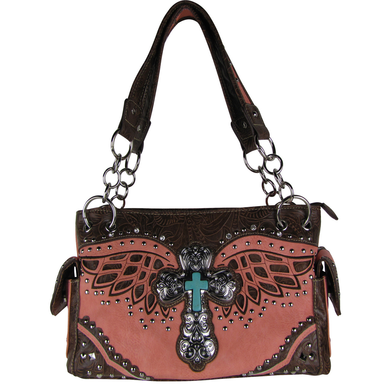 PINK WESTERN CROSS WITH WINGS LOOK SHOULDER HANDBAG HB1-52LCRPNK