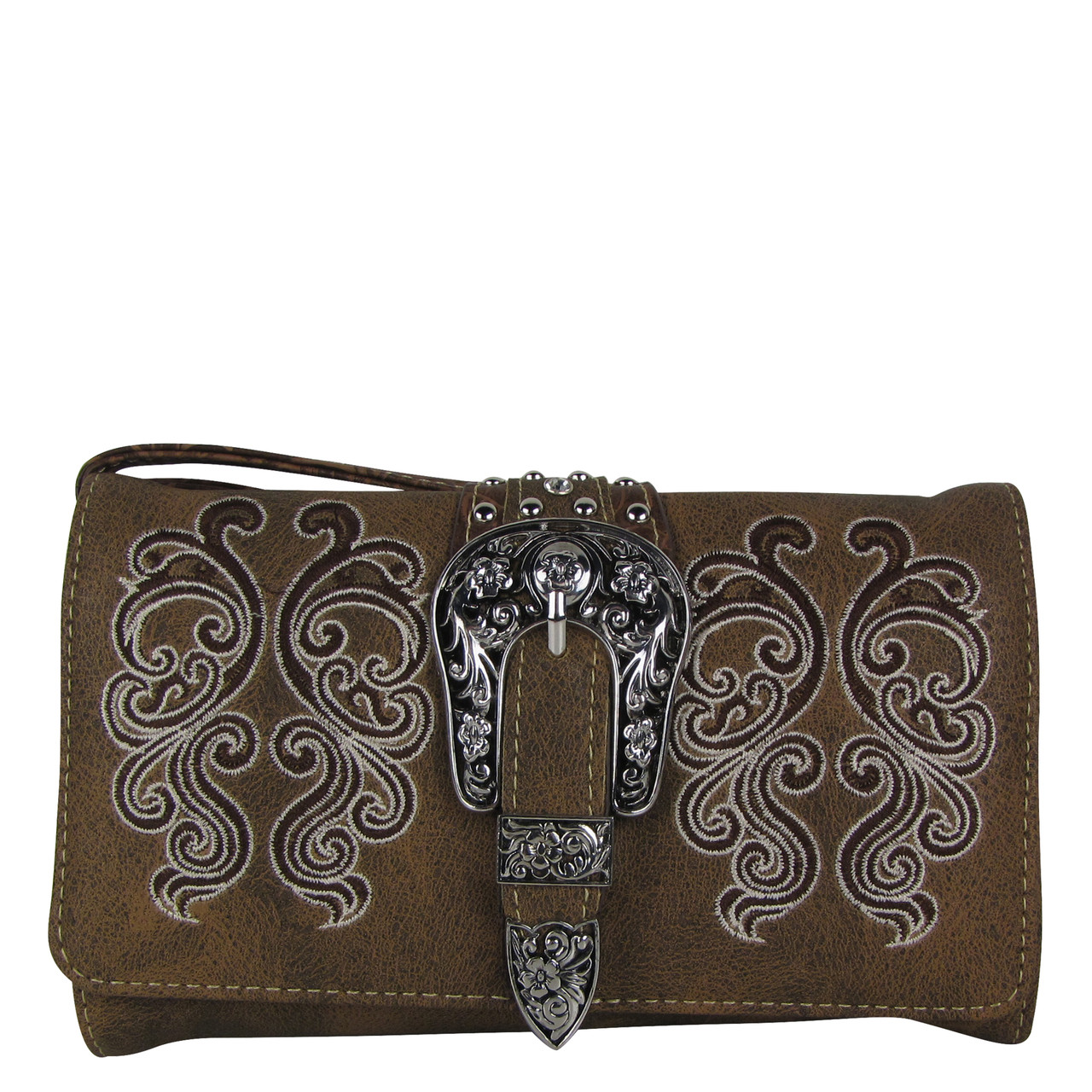 BROWN WESTERN BUCKLE LOOK CLUTCH TRIFOLD WALLET CW1-1277BRN