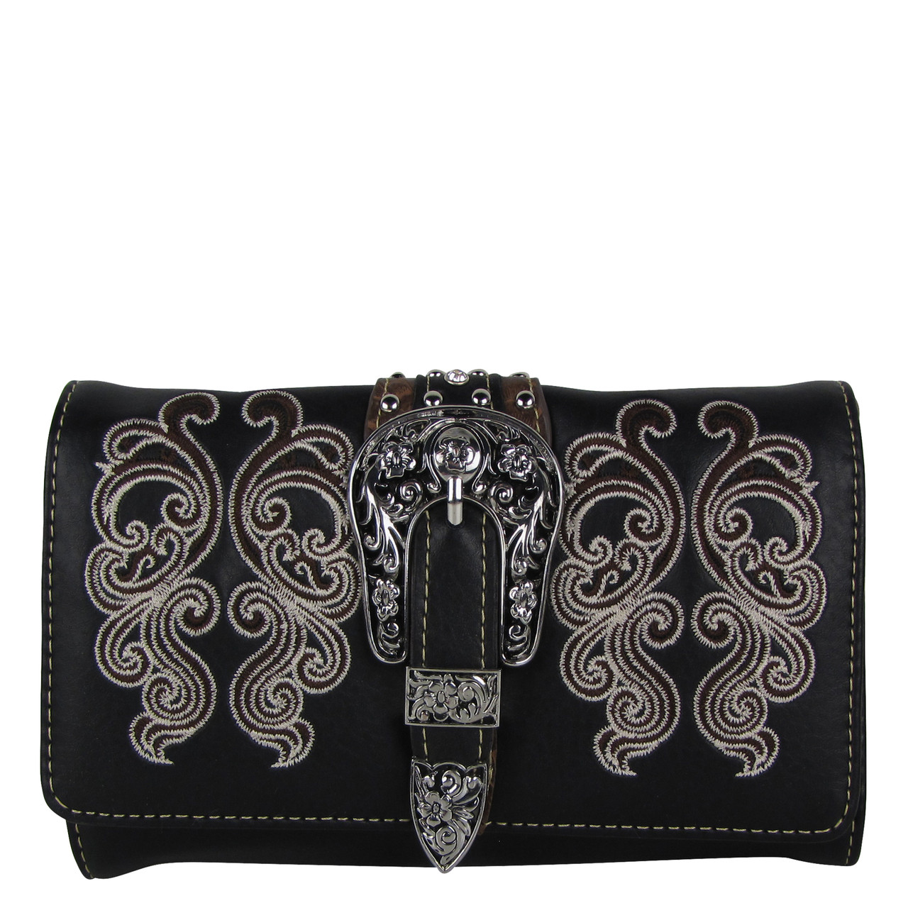 BLACK WESTERN BUCKLE LOOK CLUTCH TRIFOLD WALLET CW1-1277BLK