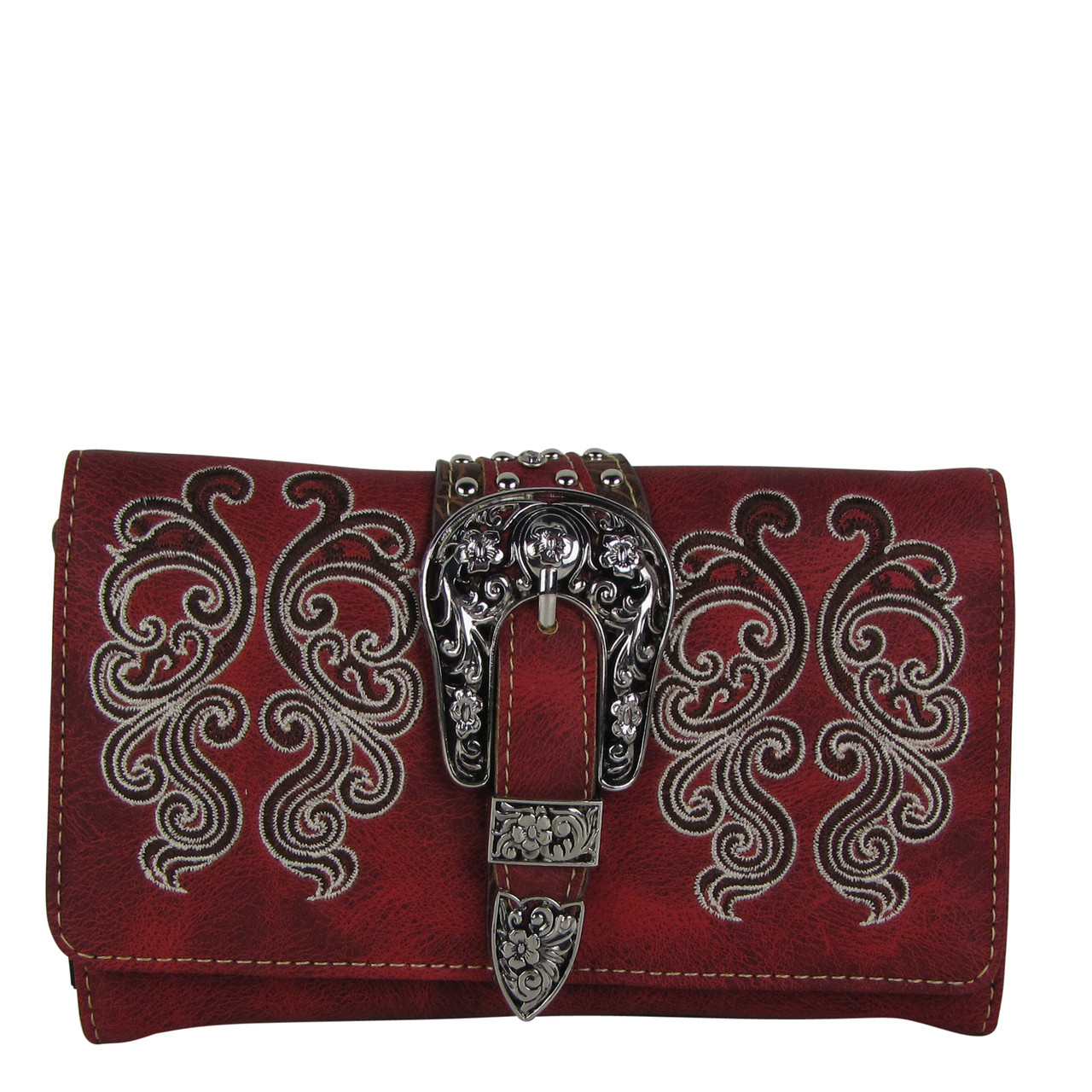 RED WESTERN BUCKLE LOOK CLUTCH TRIFOLD WALLET CW1-1277RED