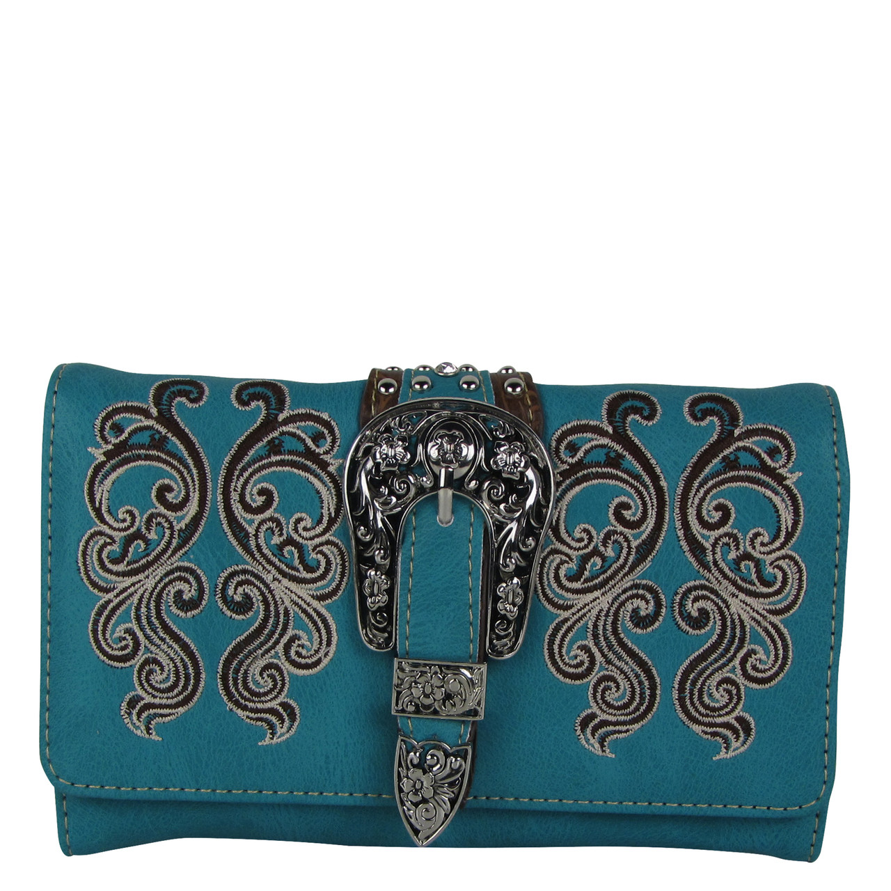 TURQUOISE WESTERN BUCKLE LOOK CLUTCH TRIFOLD WALLET CW1-1277TRQ