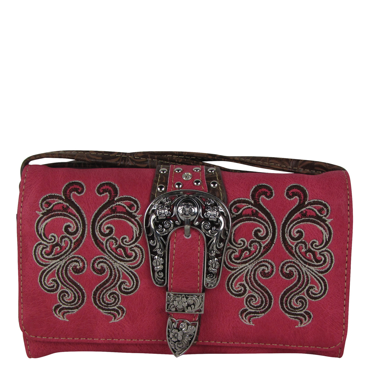 HOT PINK WESTERN BUCKLE LOOK CLUTCH TRIFOLD WALLET CW1-1277HPK