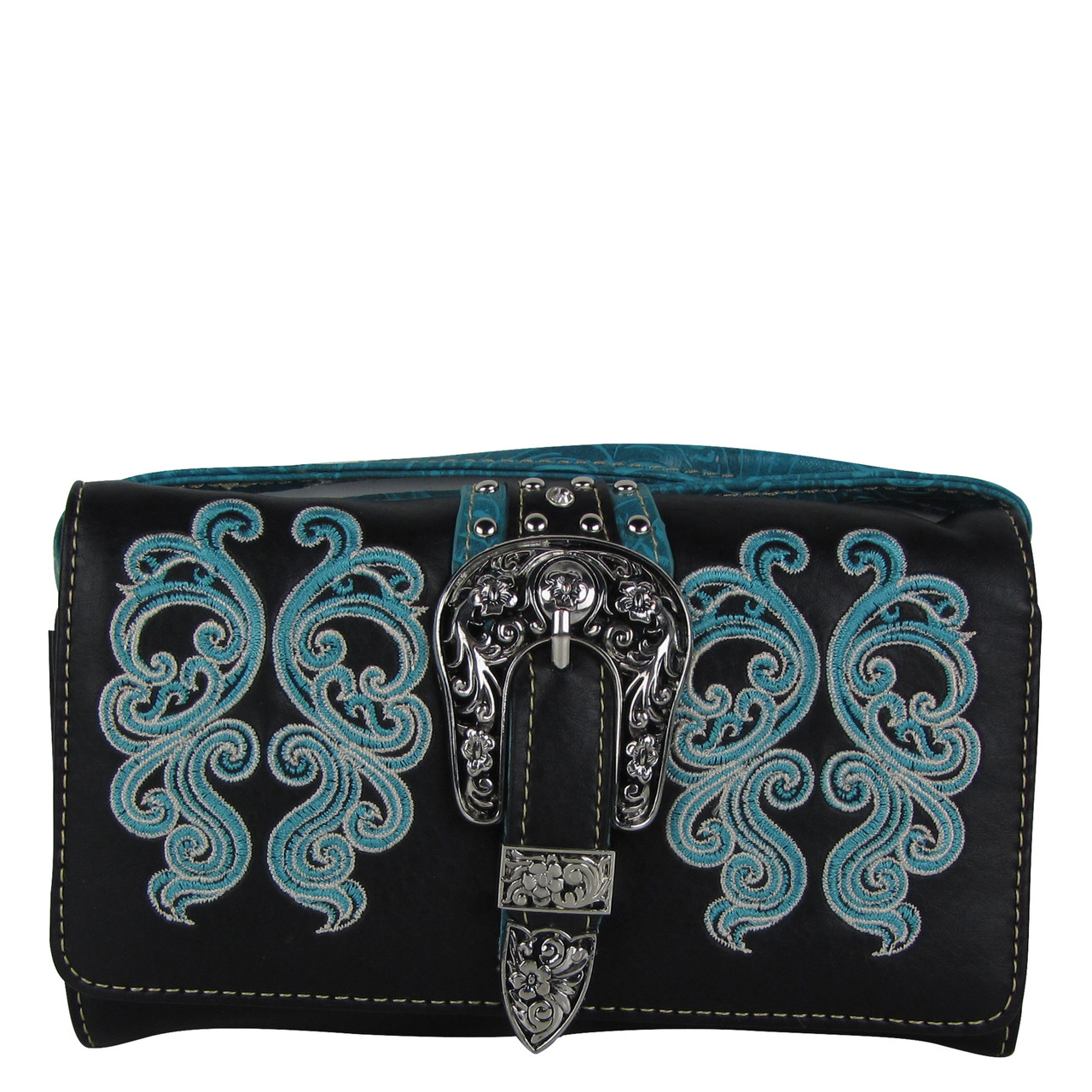 BLACK TURQUOISE WESTERN BUCKLE LOOK CLUTCH TRIFOLD WALLET CW1-1277-1BLKTQ