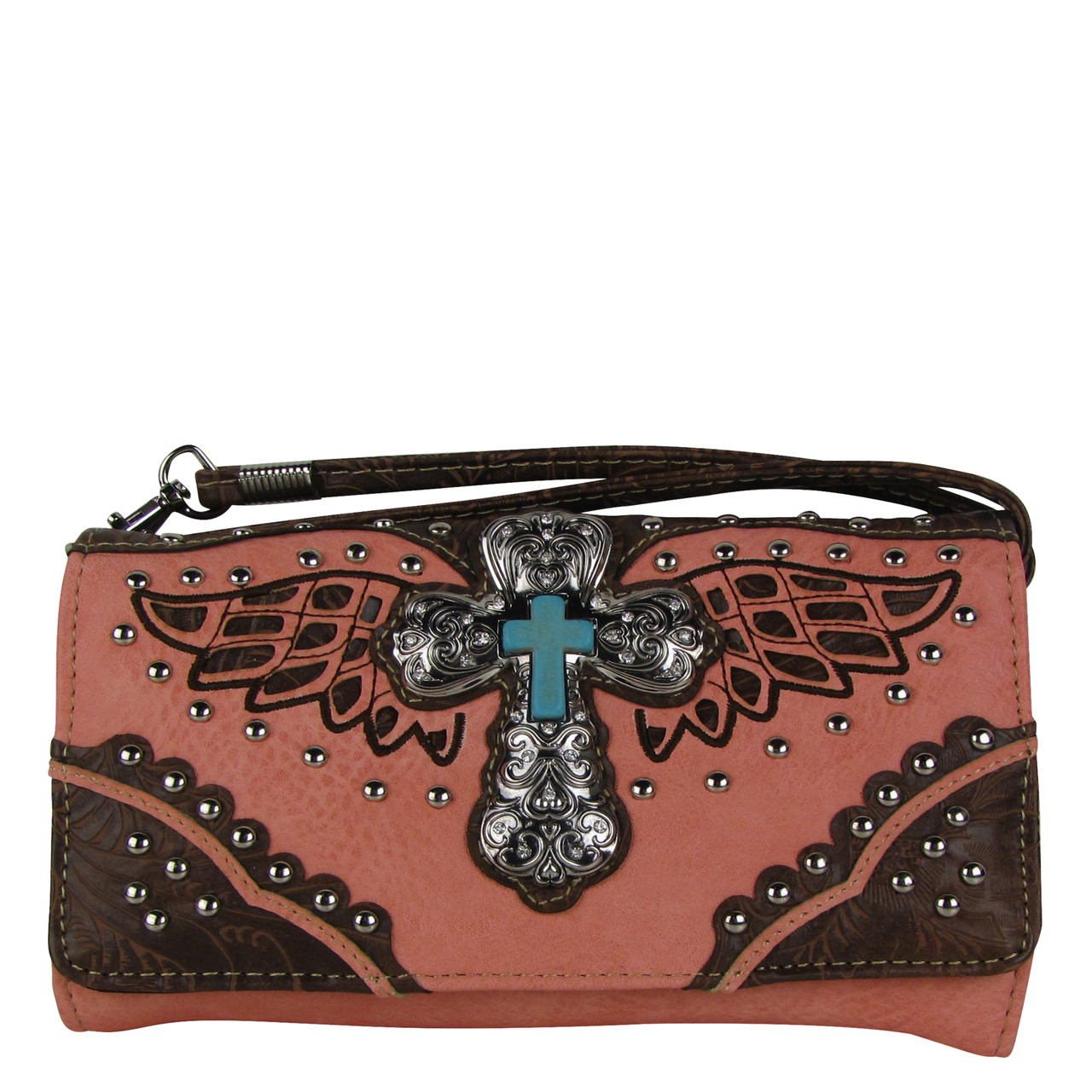 PINK WESTERN CROSS WITH WINGS LOOK CLUTCH TRIFOLD WALLET CW1-1278PNK