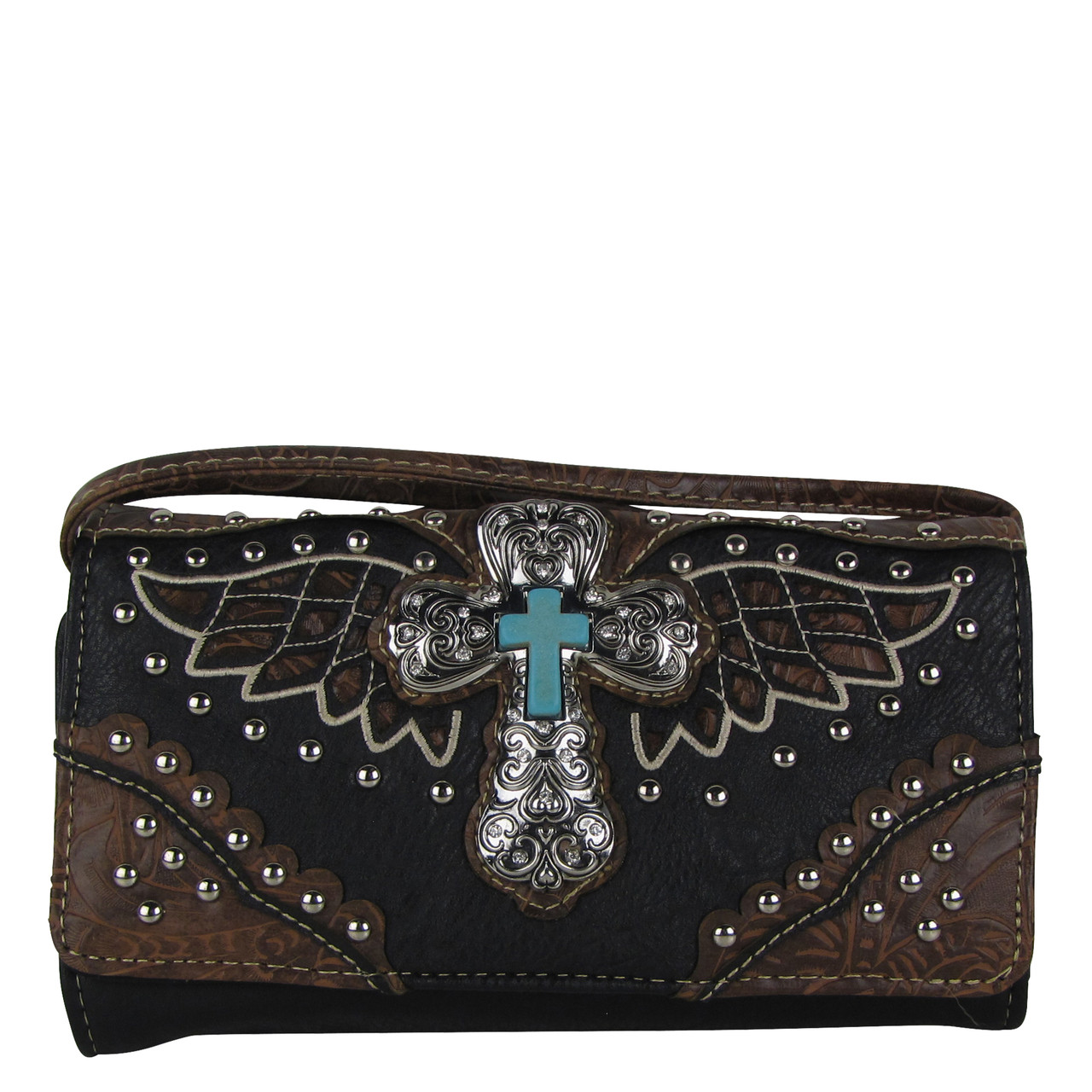BLACK WESTERN CROSS WITH WINGS LOOK CLUTCH TRIFOLD WALLET CW1-1278BLK