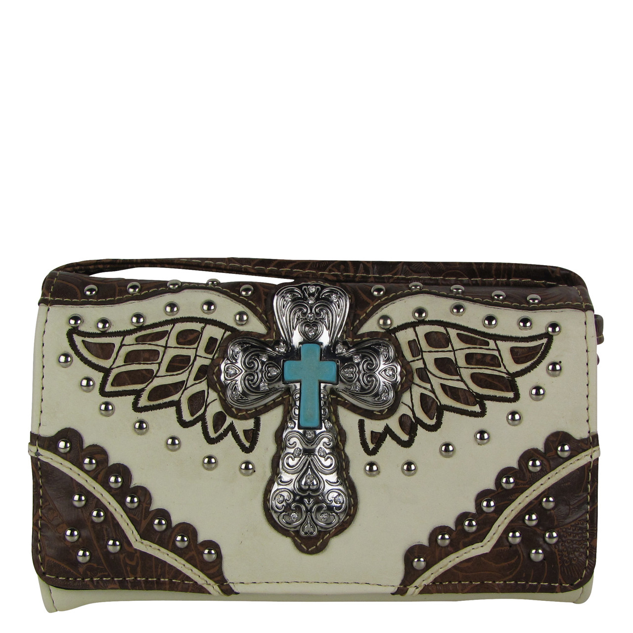 BEIGE WESTERN CROSS WITH WINGS LOOK CLUTCH TRIFOLD WALLET CW1-1278BEI