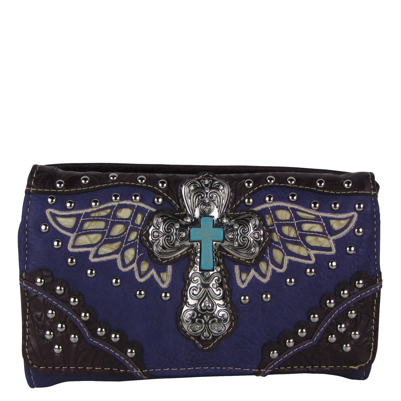 PURPLE WESTERN CROSS WITH WINGS LOOK CLUTCH TRIFOLD WALLET CW1-1278PPL