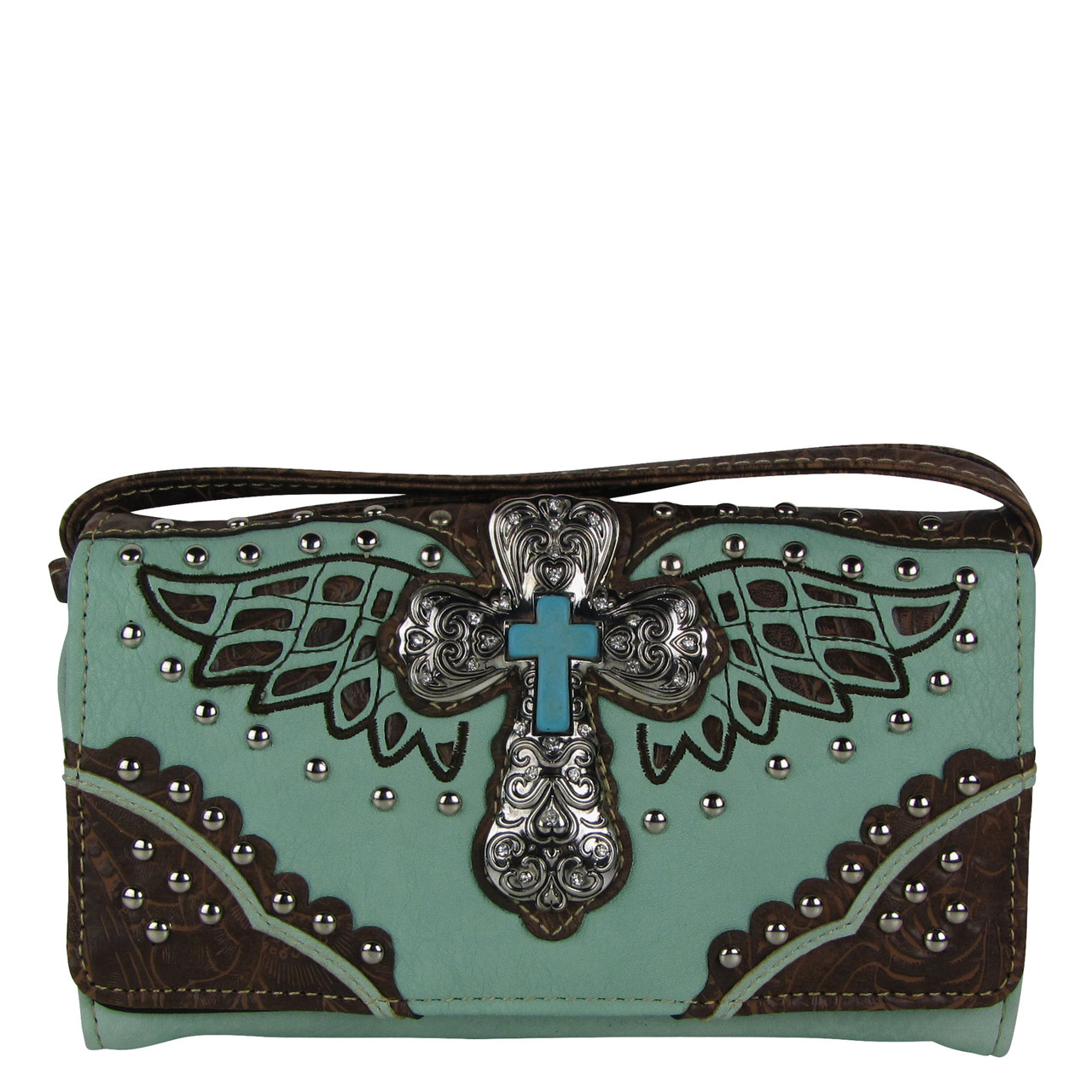 GREEN WESTERN CROSS WITH WINGS LOOK CLUTCH TRIFOLD WALLET CW1-1278GRN