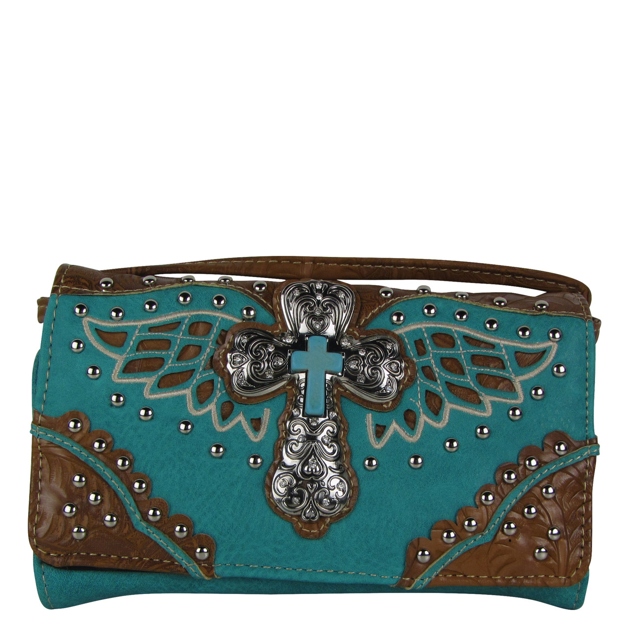 TURQUOISE WESTERN CROSS WITH WINGS LOOK CLUTCH TRIFOLD WALLET CW1-1278TRQ