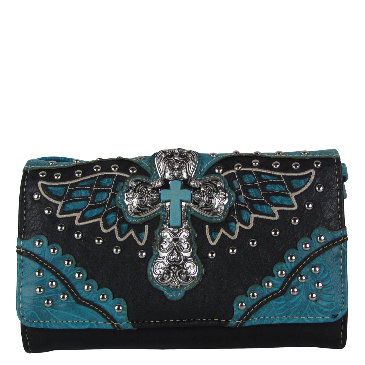 BLACK TURQUOISE WESTERN CROSS WITH WINGS LOOK CLUTCH TRIFOLD WALLET CW1-1278BLKTQ