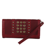 RED STUDDED RHINESTONE RINGS LOOK FASHION WALLET FW1-0201RED