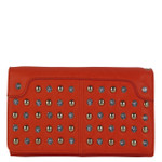 RED STUDDED RHINESTONE LOOK FASHION WALLET FW1-0206RED