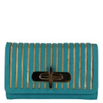 TURQUOISE STRIPED LOOK FASHION WALLET FW1-0209TRQ