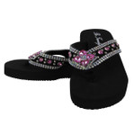 HOT PINK FLOWER RHINESTONE FASHION FLIP FLOP FF1-D2HP-HPK