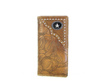 BROWN TOOLED STAR MENS CHECKBOOK WALLET MW2-0478BRN