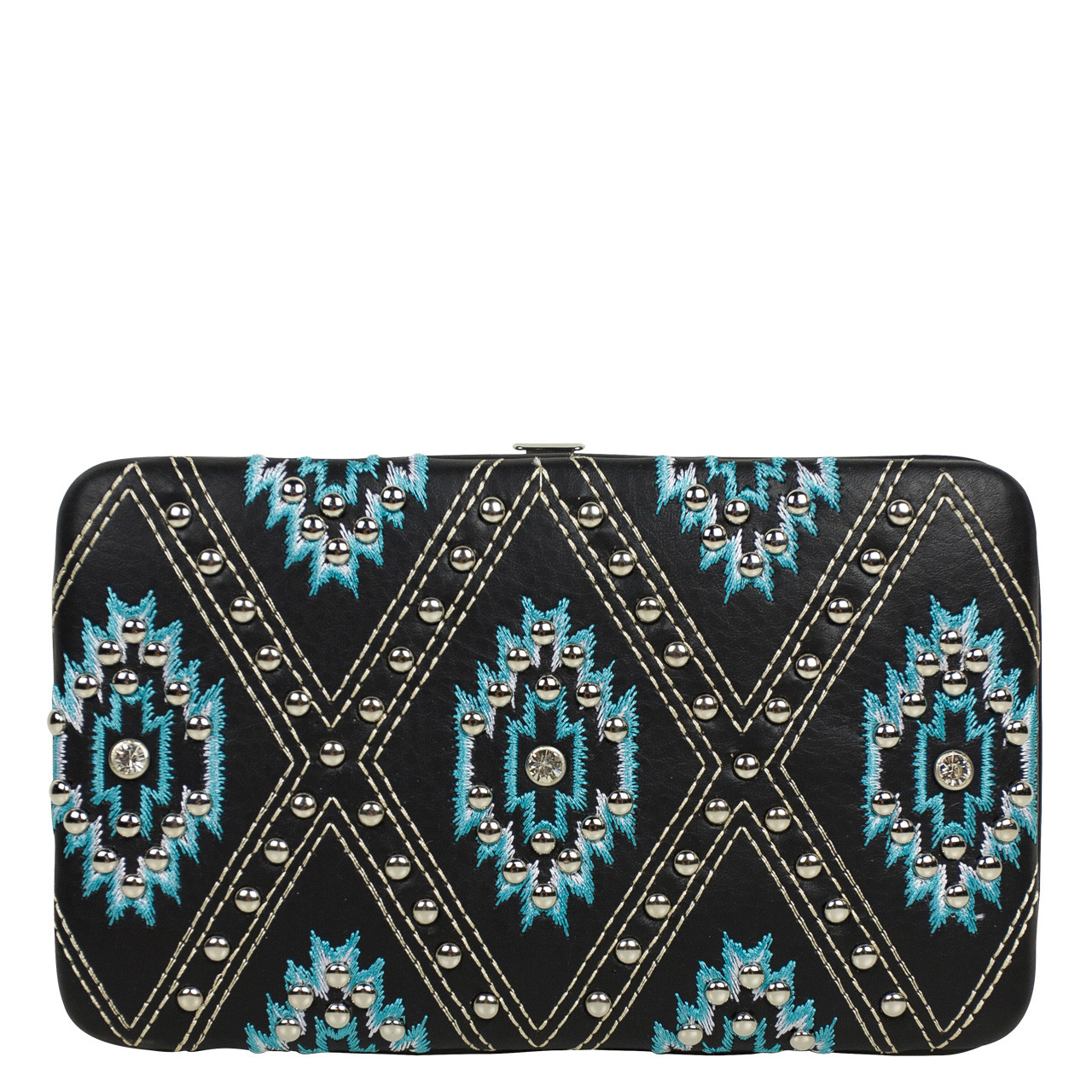 TURQUOISE STUDDED RHINESTONE LOOK FLAT THICK WALLET FW2-12122TRQ