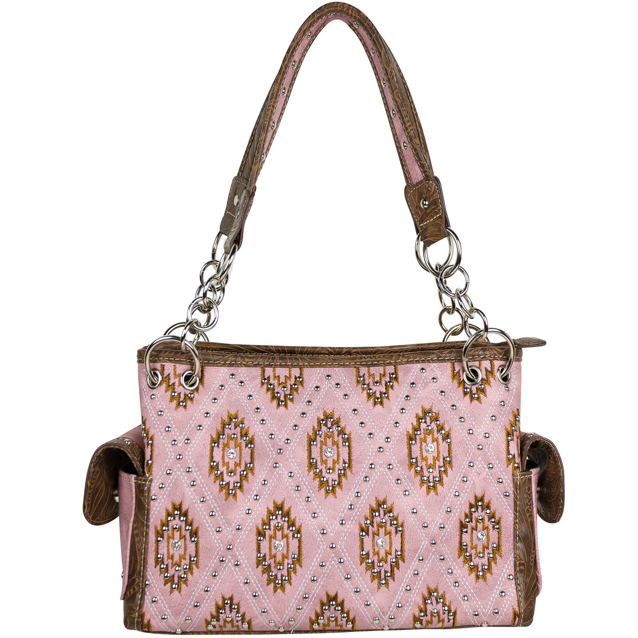 PINK WESTERN STUDDED LOOK SHOULDER HANDBAG HB1-939SWPNK