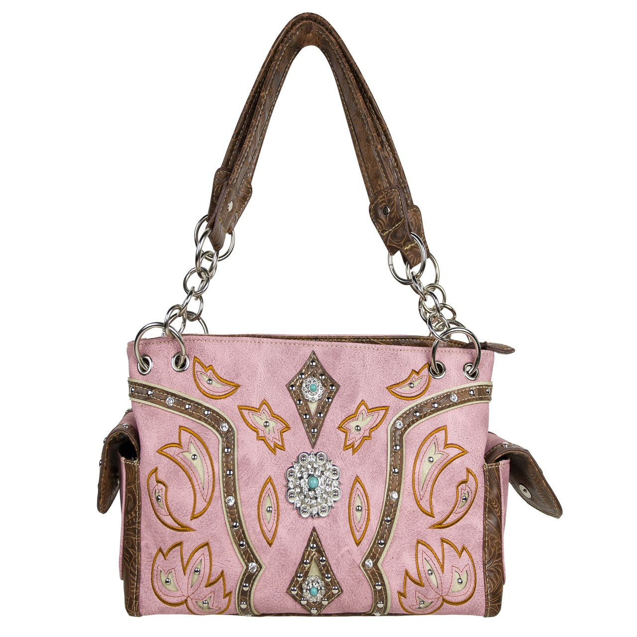 PINK WESTERN BLUE STONE LOOK SHOULDER HANDBAG HB1-39W17PNK