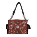 RED WESTERN BLUE STONE LOOK SHOULDER HANDBAG HB1-39W17RED